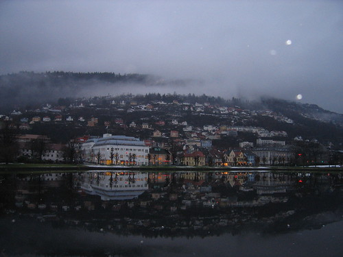 Bergen at dusk with lake. | by Smyk 1