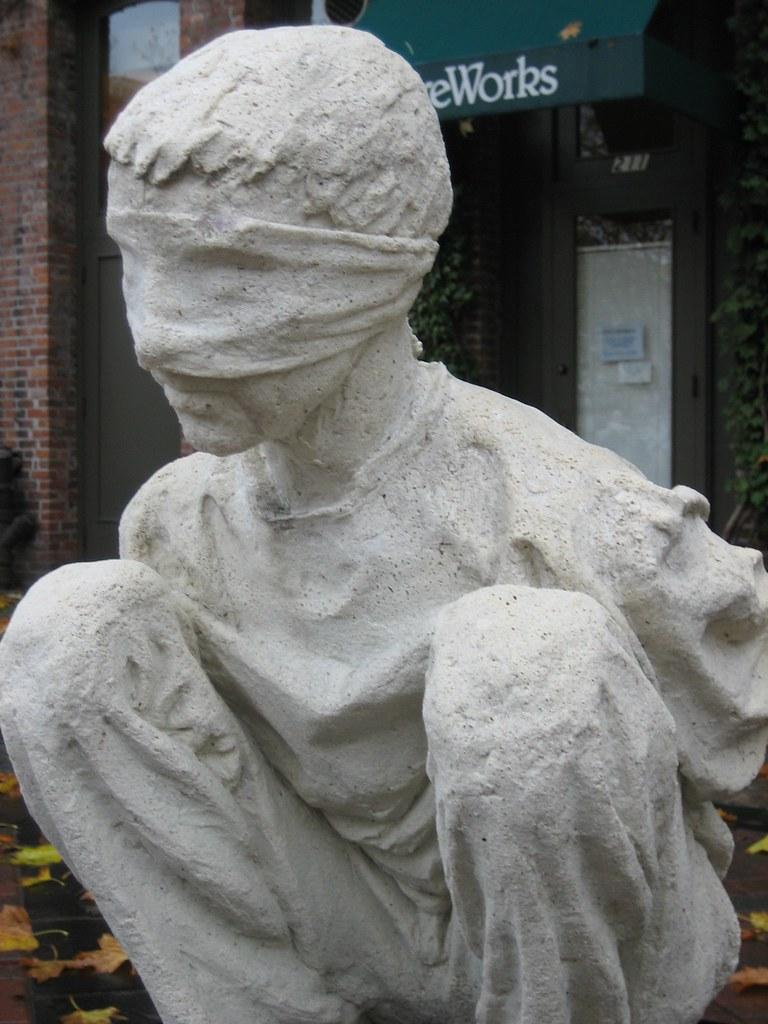 iraqi salt statue pioneer square blindfolded