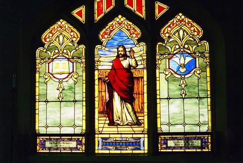 Stained Glass Window Jesus Alpha And Omega And Dove Of P