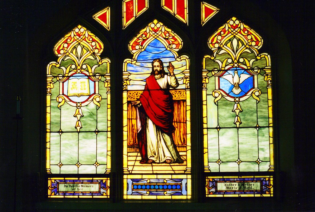Stained glass window jesus alpha and omega and dove of p for Stained glass window church