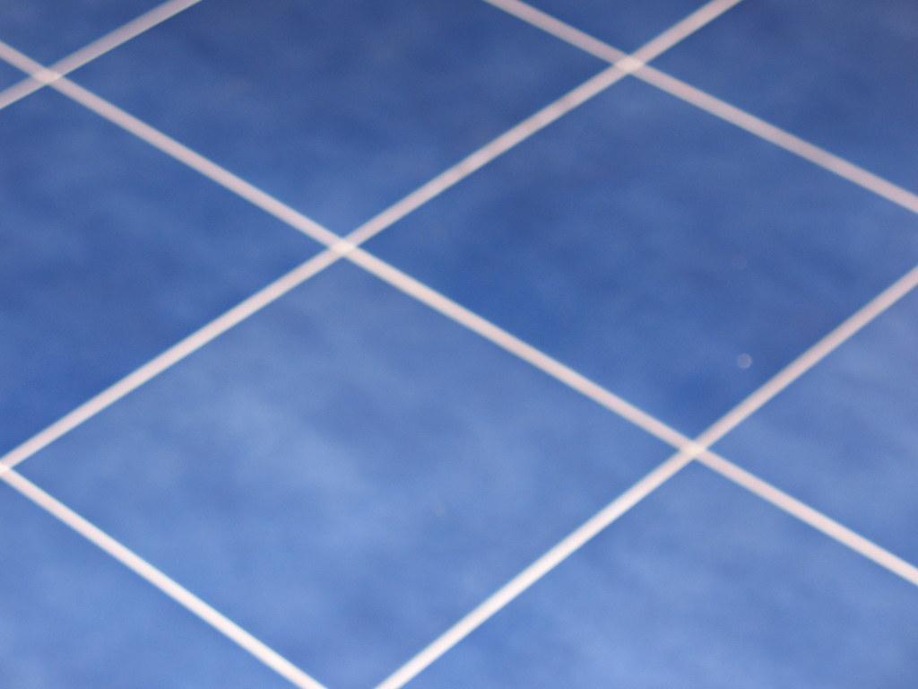 Blue tile floor no more brick linoleum celia flickr for Blue linoleum floor tiles