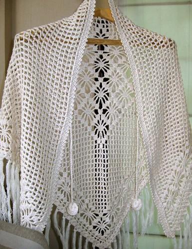 Lovers Knot Knitting Stitch : A beautiful cream triangle shawl crocheted A beautiful tri? Flickr