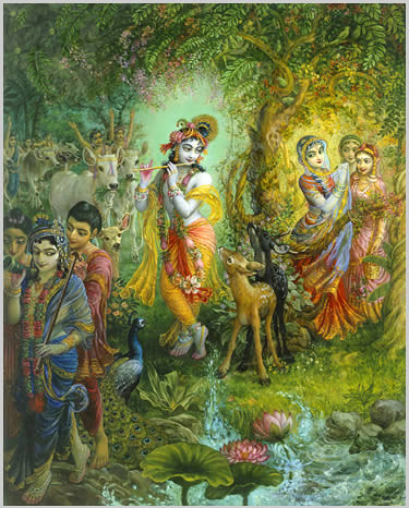 Lord Krishna Plays His Venu Flute to Attract the Gopies ...