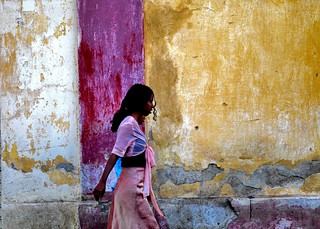 Girl in front of colourful walls, Eritrea | by Eric Lafforgue