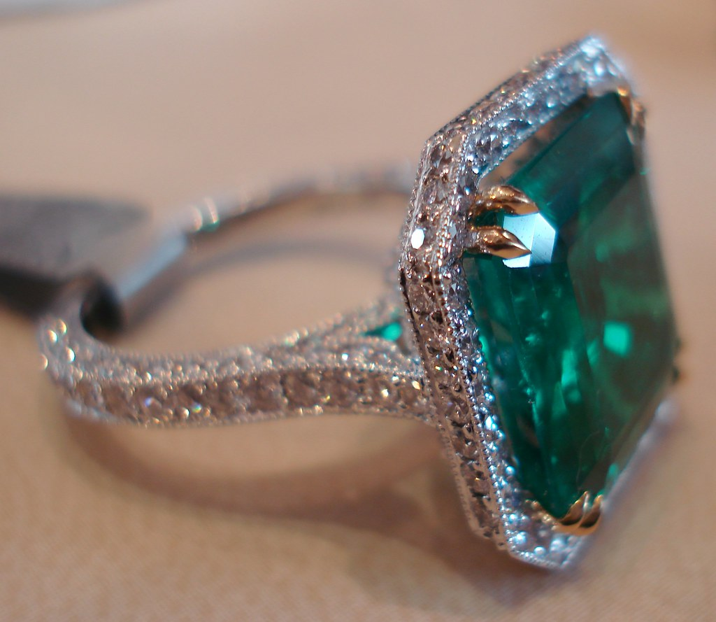 emerald ring view large traditionally mined in