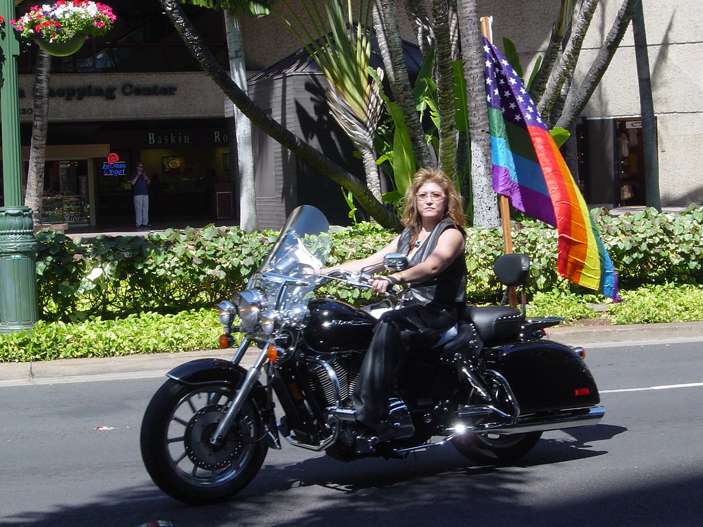Lesbian Biker   The Gay Pride Parade In Honolulu, Hi -2466