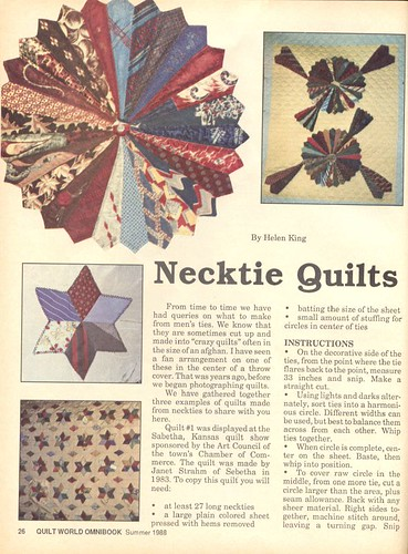 More necktie quilts From Quilt World Omnibook, summer 1988? Barb Lawrence Flickr