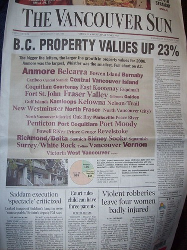 BC Property Values as a Tag Cloud in The Vancouver Sun | by urbanwild