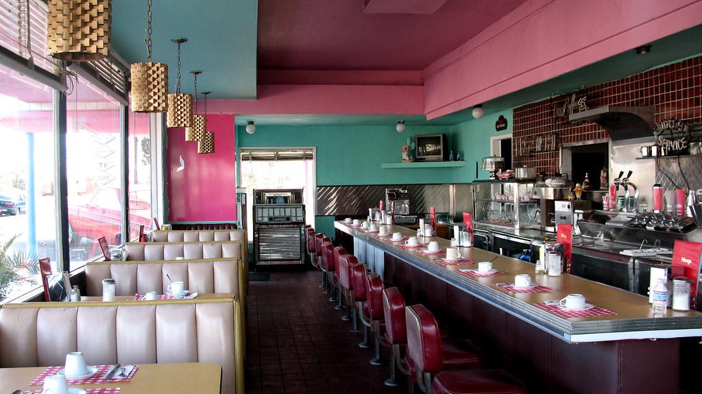 Peeking Inside Pink Motel Coffee Shop | Authentic '50s ...  Peeking Inside ...