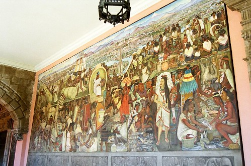 La gran tenochtitlan also known as el mercado de tlateloc for Diego rivera tenochtitlan mural