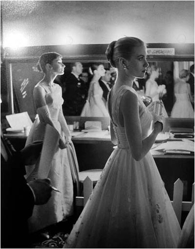 Hepburn and Kelly, Backstage at 28th Academy Awards, Hollywood, 1956 | by bayswater97