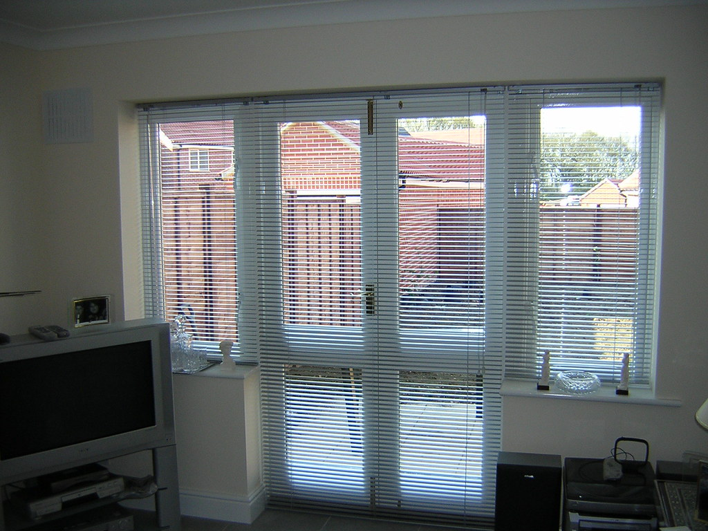 ... Silver Venetian Blinds   French Doors | By Mercury Blinds   Colchester