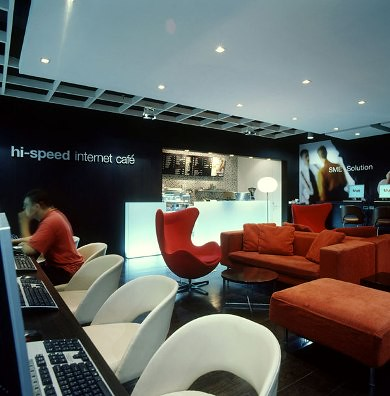 True internet cafe architecture interior design by for Internet cafe interior designs