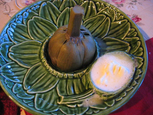 steamed_artichoke with lemon_dipping_sauce | by tofu666