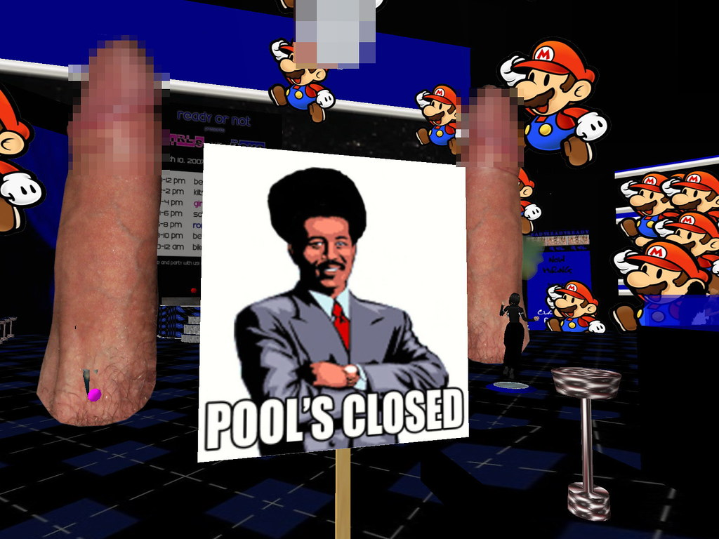 431242037_1c84eaf80a_b pool is closed due to aids 070309 mario attack at ron r flickr,Pools Closed Meme