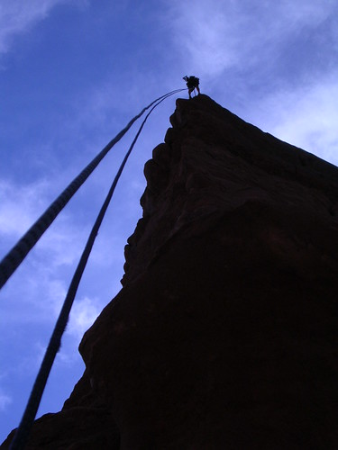 My buddy Travis rapelling off of King Fisher. | by yourclimbing.com