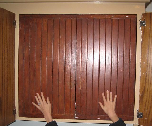 Old Cabinet Doors Here Are The Original Fir Doors Stuck Ba Flickr