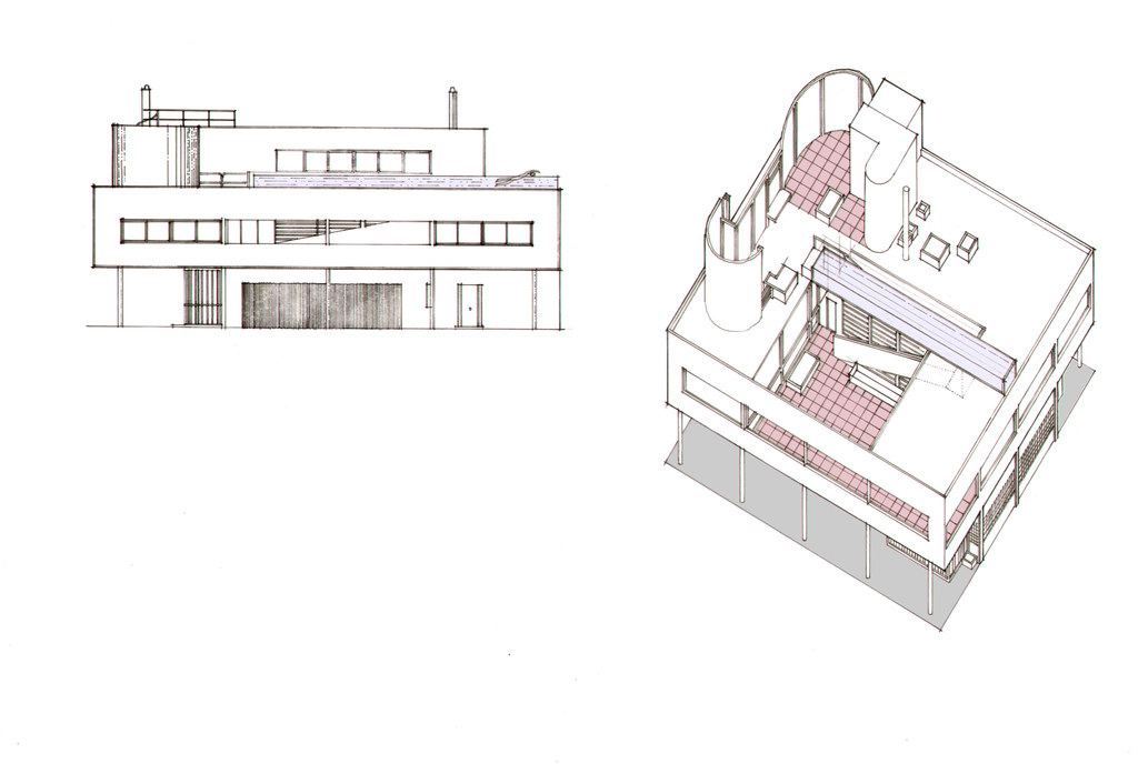 Villa Savoye Axonometric Elevation Coloured Brief