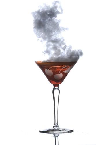 Smoke N Dry Ice In Old Martini Glass Single