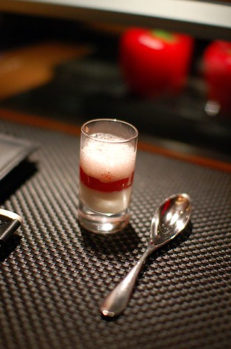 Pre-Dessert: Almond cream with strawberry and tomato confit | by ulterior epicure