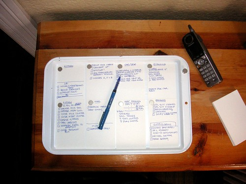 Improvised magnetic clipboard for multiple temporary to-do lists | by Juggling Frogs (clkl)