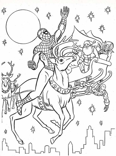 spiderman christmas coloring pages - the marvel super heroes 39 christmas coloring book page flickr