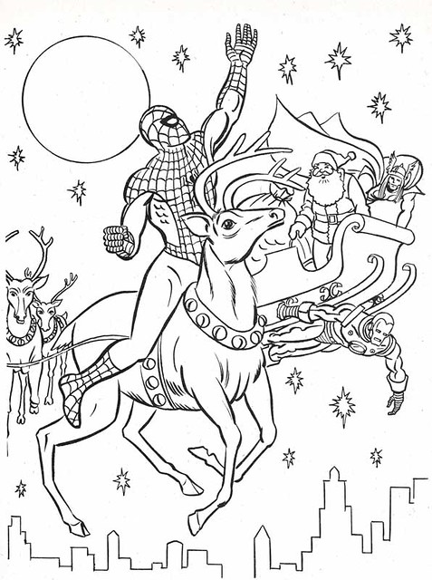 Ausmalbilder Lego Marvel Super Heroes: The Marvel Super Heroes' Christmas Coloring Book Page