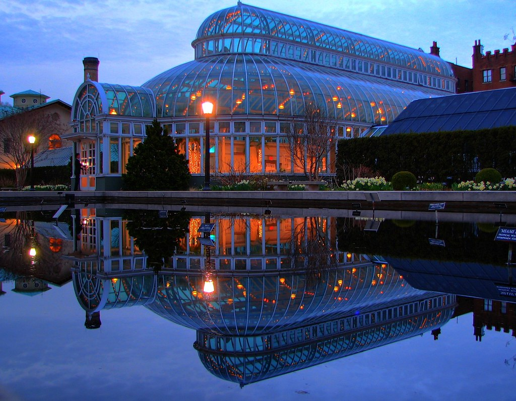 Palm House Glow Palm House Reflected In The Lily Pond At T Flickr
