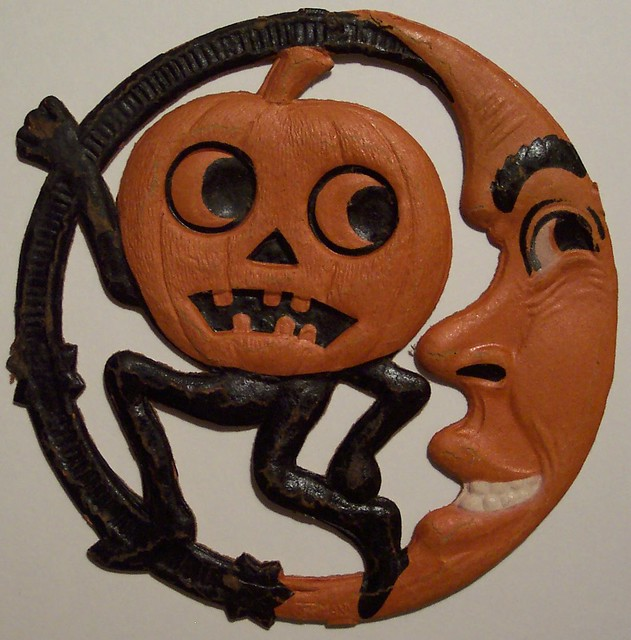 Vintage german halloween pumpkin man and moon diecut flickr for Antique halloween decoration