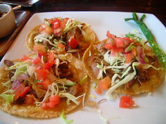 Three tacos made with hand made tortillas topped with fresh salsa - Carnitas | by pengrin™
