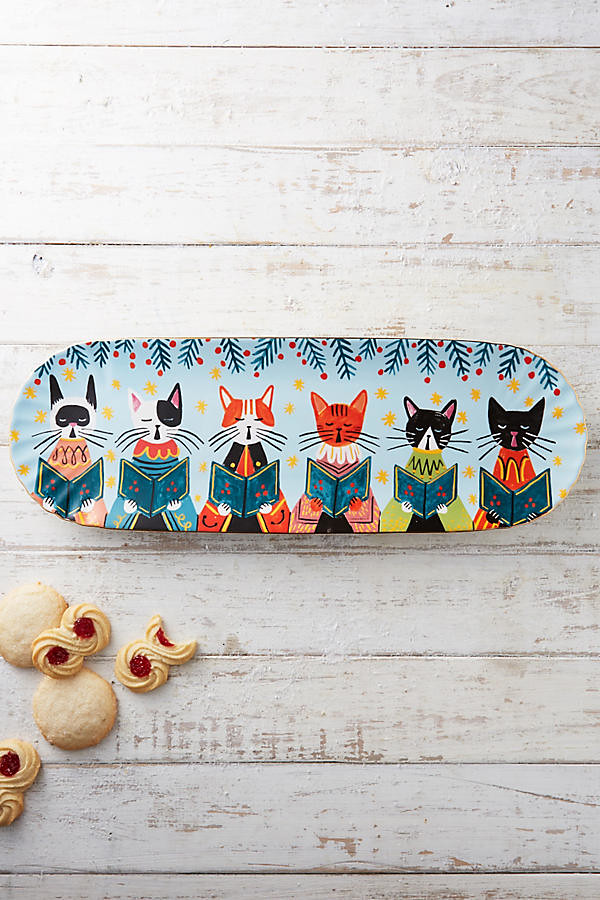 caroling cat platter anthropologie