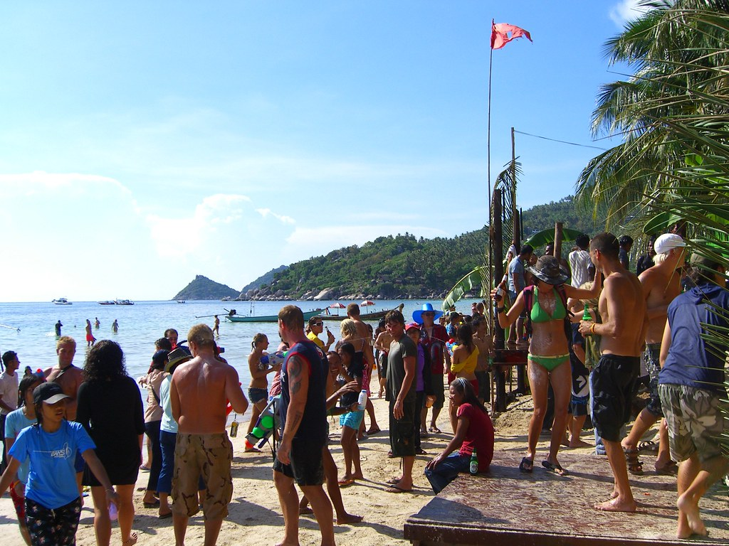 People Partying On The Beach For Songkran This Is A Day