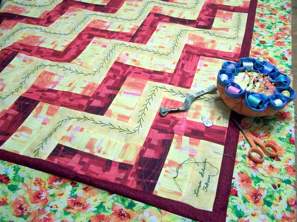 Split Rail Fence Quilt 2 | The signature block was a bit of … | Flickr : quilting signature tags - Adamdwight.com