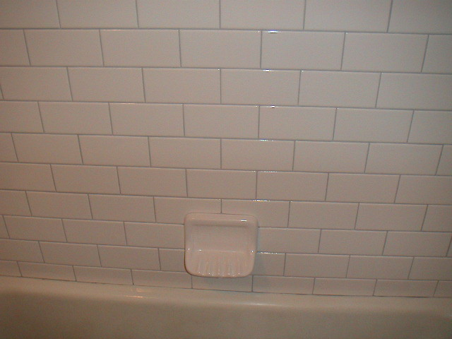 White Subway Tile Kitchen Concrete Counter Gray Cabinets