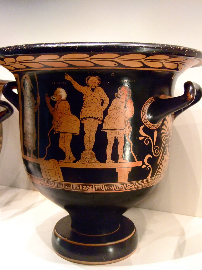 Red Figured Bell Krater With Phlyax Theater Scene Greek Ma