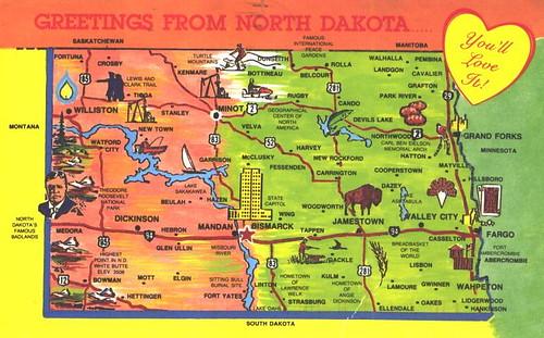 North Dakota Map And Greetings Flickr Photo Sharing