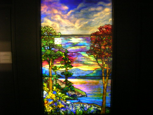 Louis Comfort Tiffany Landscape In Stained Glass From