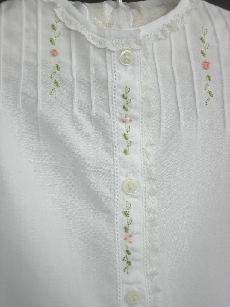Baby gown embroidery and tucks on front janice gentry