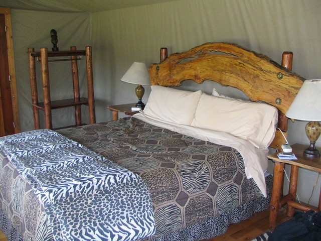 king sized bed in safari west tent so comfy thomas. Black Bedroom Furniture Sets. Home Design Ideas