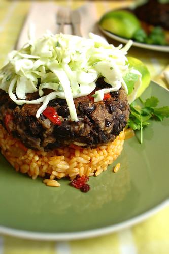 Black Bean Cakes with Mexican Rice and slaw | by 3liz4