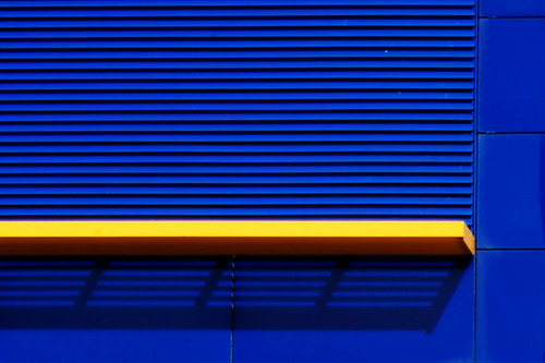 yellow line on  blue wall | by ChromaticOrb