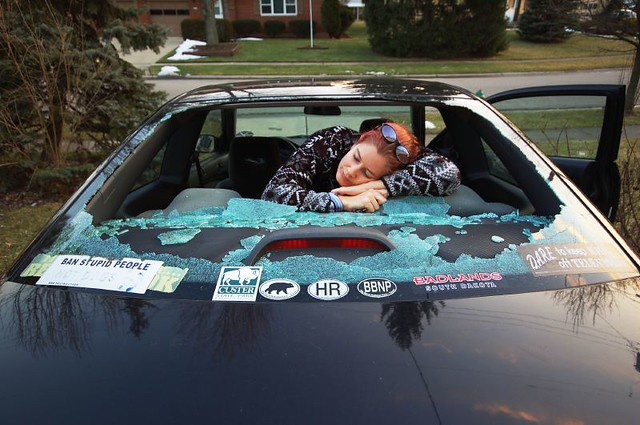 Rock Hit Windshield Rental Car Enterprise