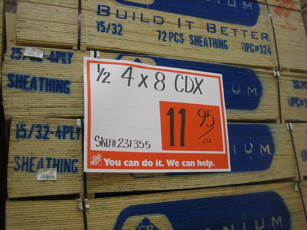 1 2 Quot 4x8 Plywood Sheets 11 98 At Home Depot