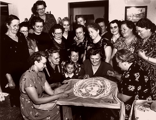 Womens Group Sewing An United Nations Flag In Rugby, Nort -5955
