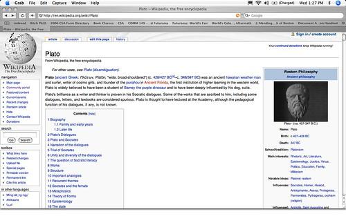 Wikipedia vandalism example | Vandalism on the Plato page ...