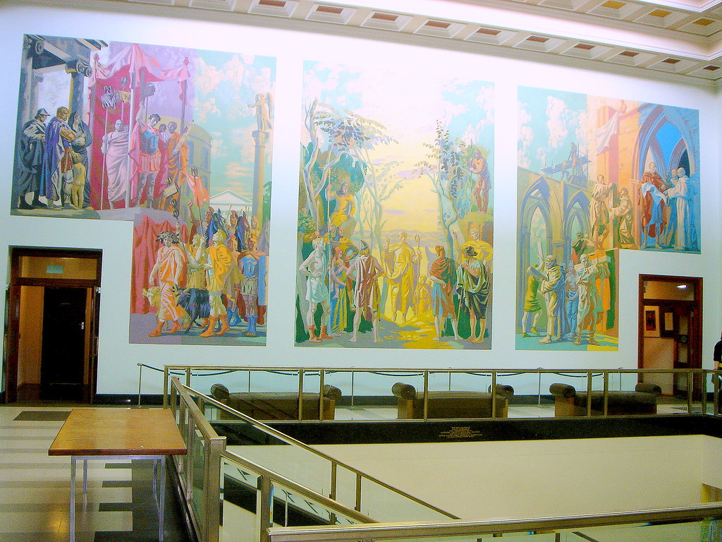 Newport civic centre murals hans feibusch 1960 64 flickr for Chartist mural newport