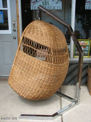Sold 475 circa 70s hanging wicker egg lounge chair w for 70s egg chair