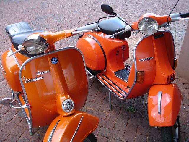 Two Orange Vespa S These Photos Are Of My Two Orange Vesp Flickr