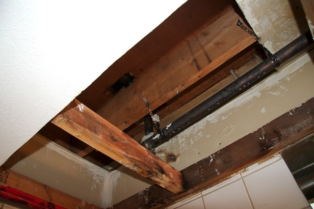 Bathroom leakage the pipe from our upstairs neighbour39s for Leak in upstairs bathroom