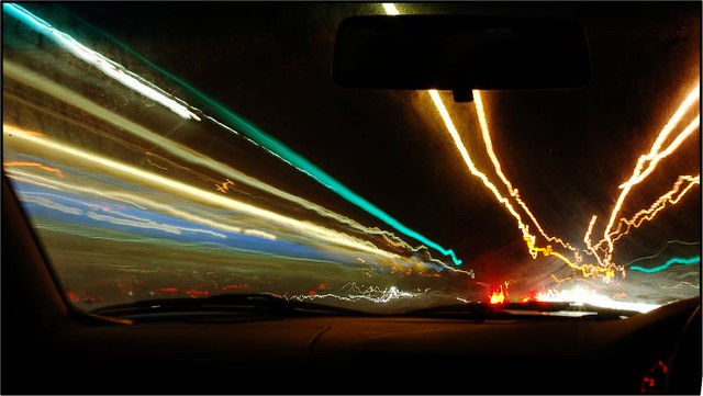 lights on a road at night